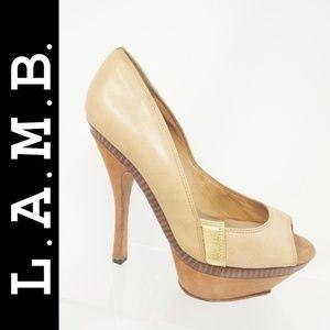 L.A.M.B Gale- Cognac Gold Soft Leather Suede heels